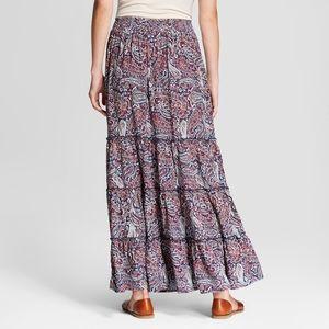 Knox Rose Maxi Paisley Skirt Stretch Waist Purple